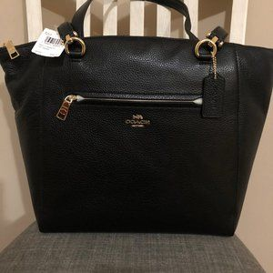 NWT COACH BLACK LEATHER TOTE/MESSAGER/COMPUTER BAG